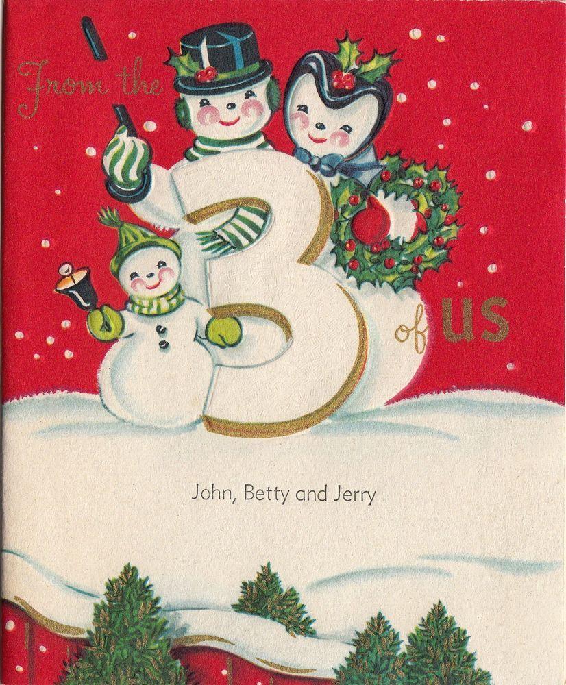 Vintage Greeting Card Christmas Snowman Family 3 Three Of Us I239
