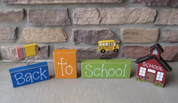 Back to SCHOOL BLOCKS with pencil school bus and schoo by lisabees, $27.95