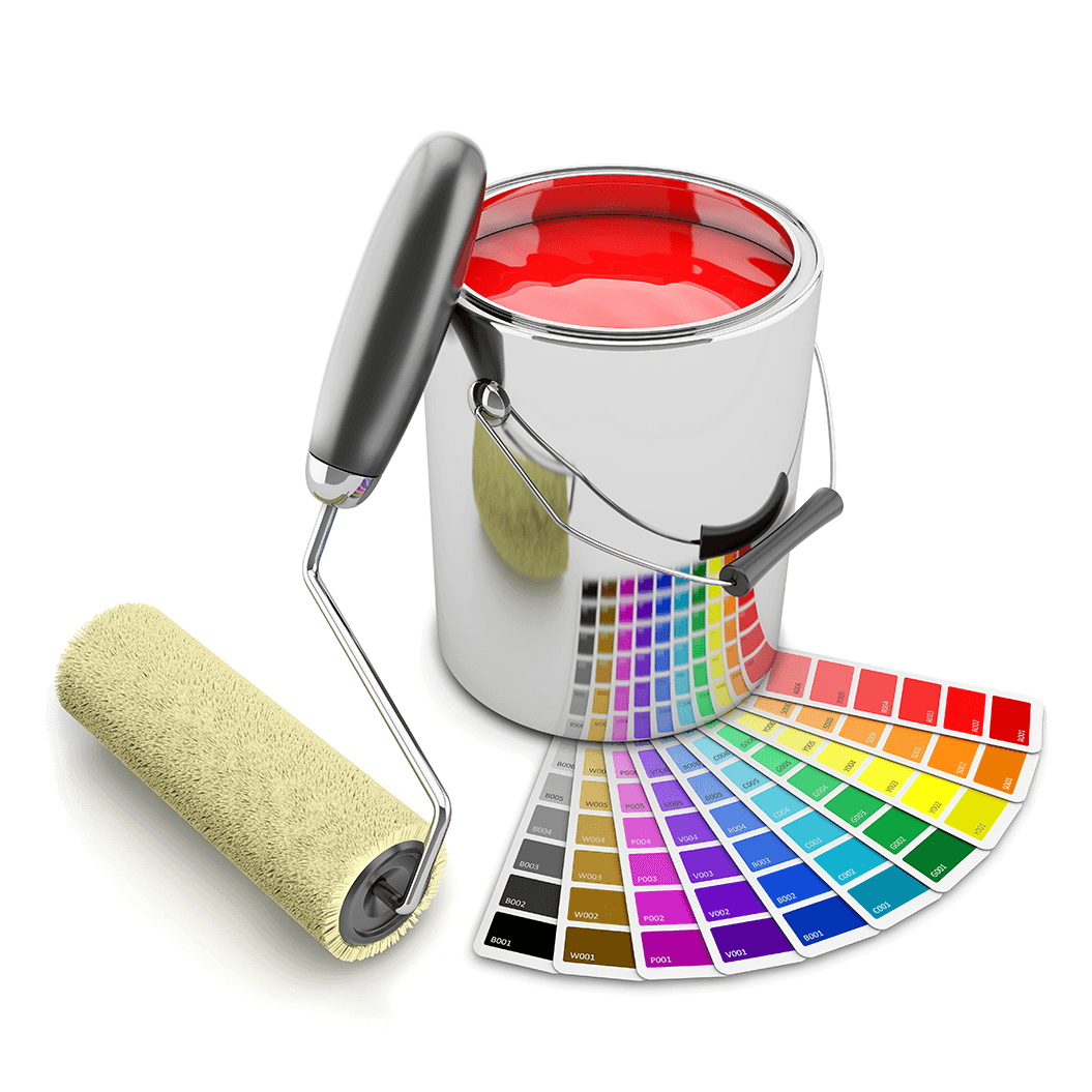 Paint Can Palette And Roller Brush Paint Cans Painting Roller Brush