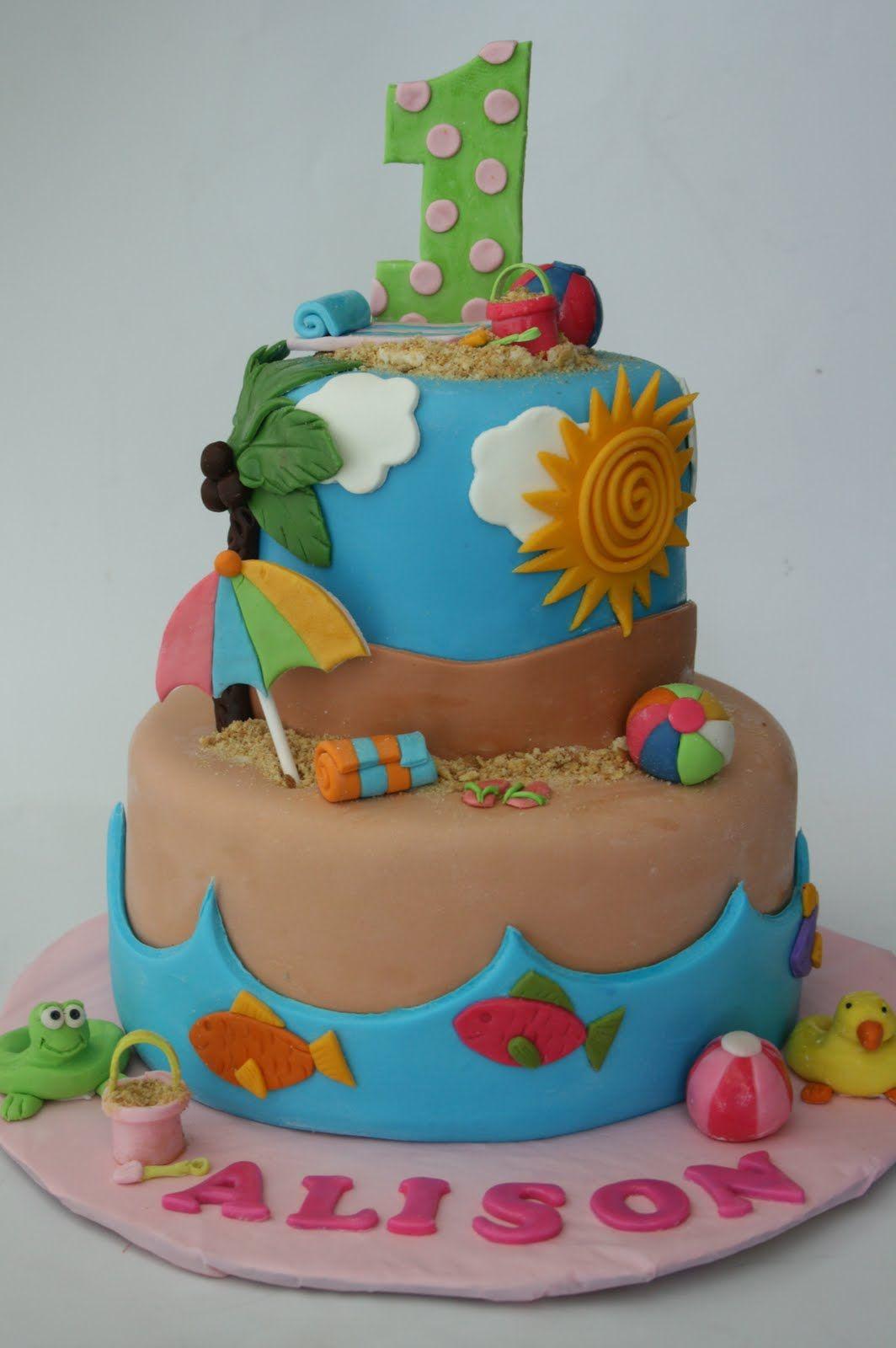 Beach Cake Com Imagens Bolos De Aniversario Praia Melhores