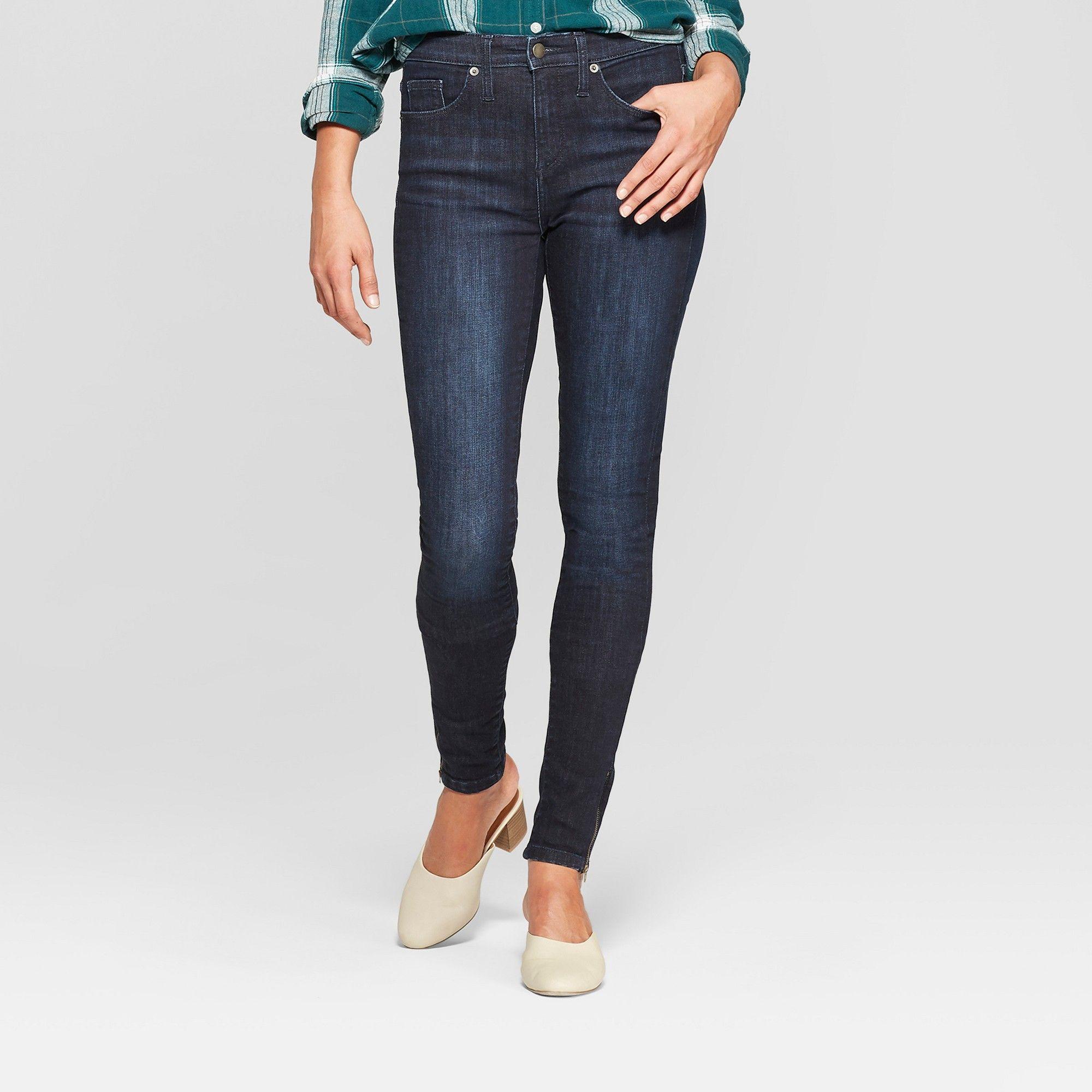 01d80e536a6f Women's High-Rise Zippered Split Hem Skinny Jeans - Universal Thread Dark  Wash 10 Short, Blue