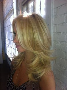 Layered Blowout Hairstyle Haircut Ideas Baby Blonde Hair Hair Styles Long Layered Hair