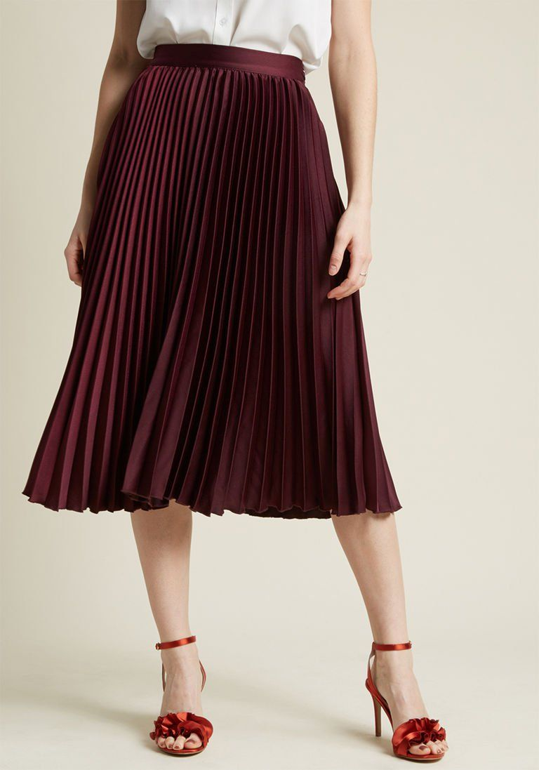 9fef96b0c Polished Pleated Midi Skirt in Burgundy in XL - A-line Skirt by ModCloth