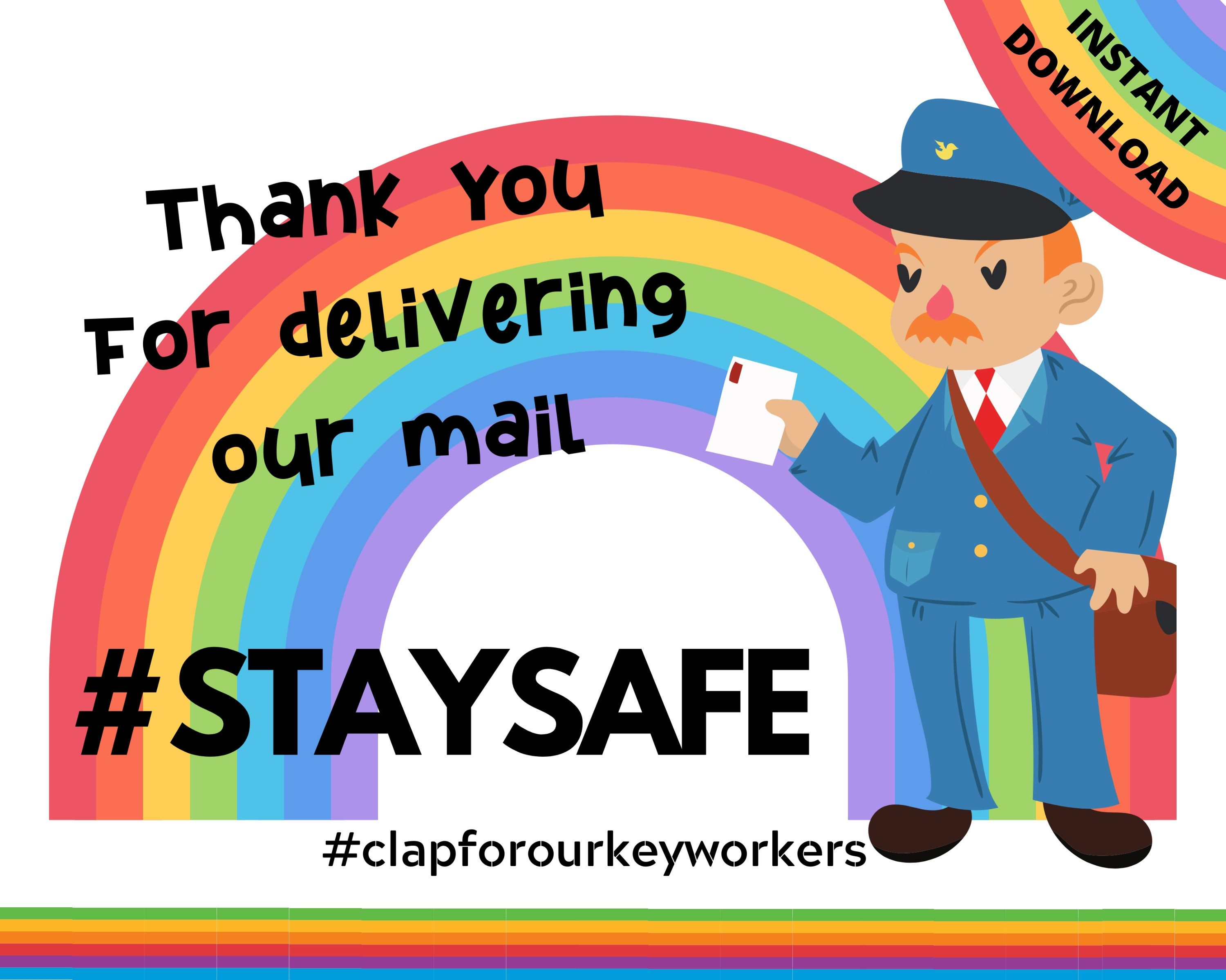 Thank You For Delivering Our Mail A4 Instant Download Window Poster Staysafe Print At Home Keyworkers Poppabelle Thank You Poster Window Poster Mail Person