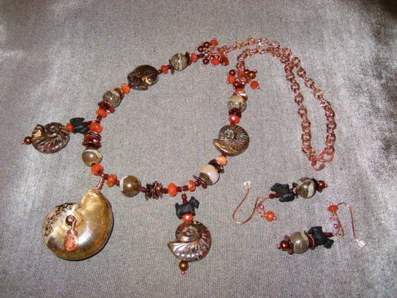 Smoulder Fossil Opal OOAK Scottie Necklace Set - 244s