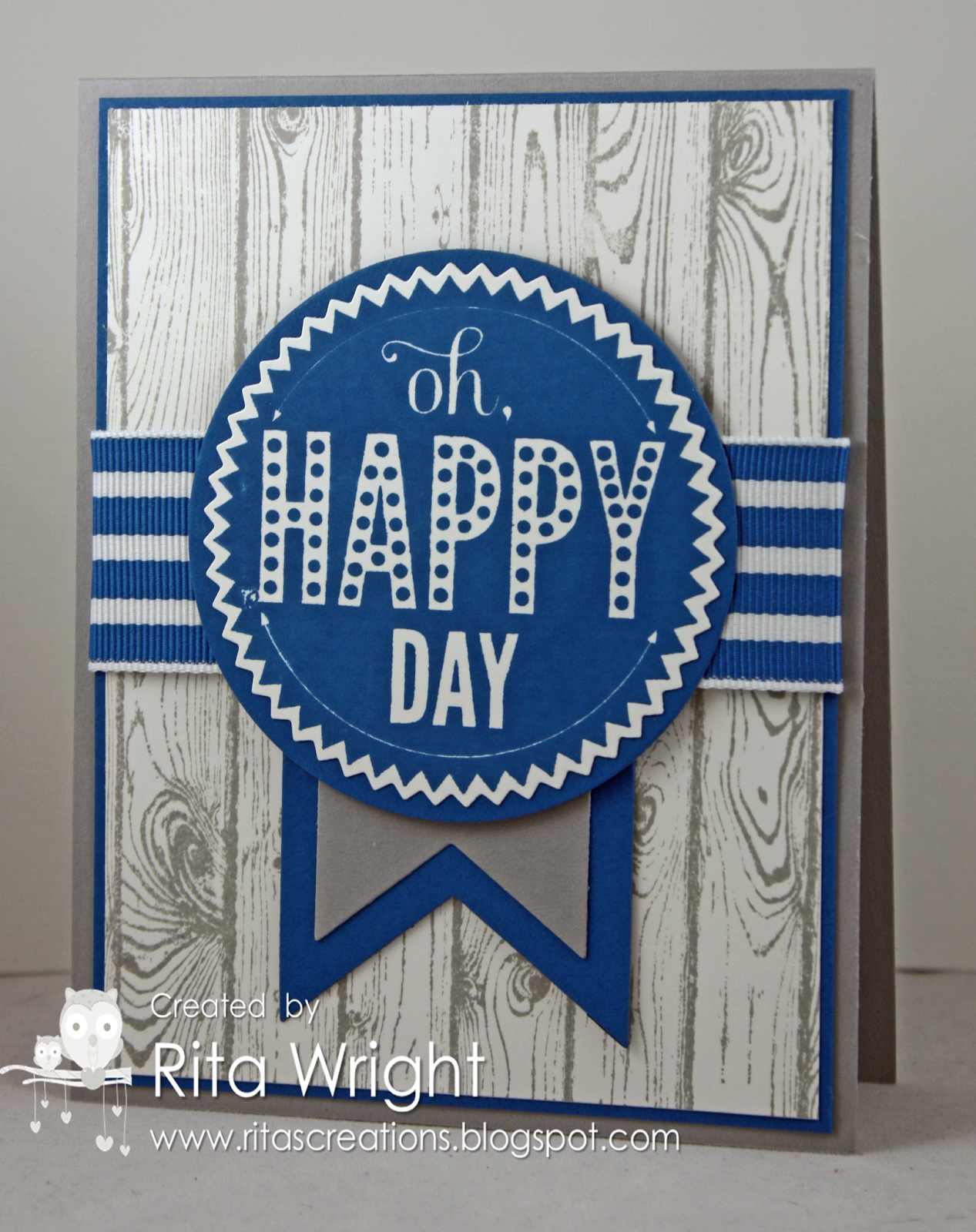 Stampinu up starburst sayings oh happy day card with the wood grain