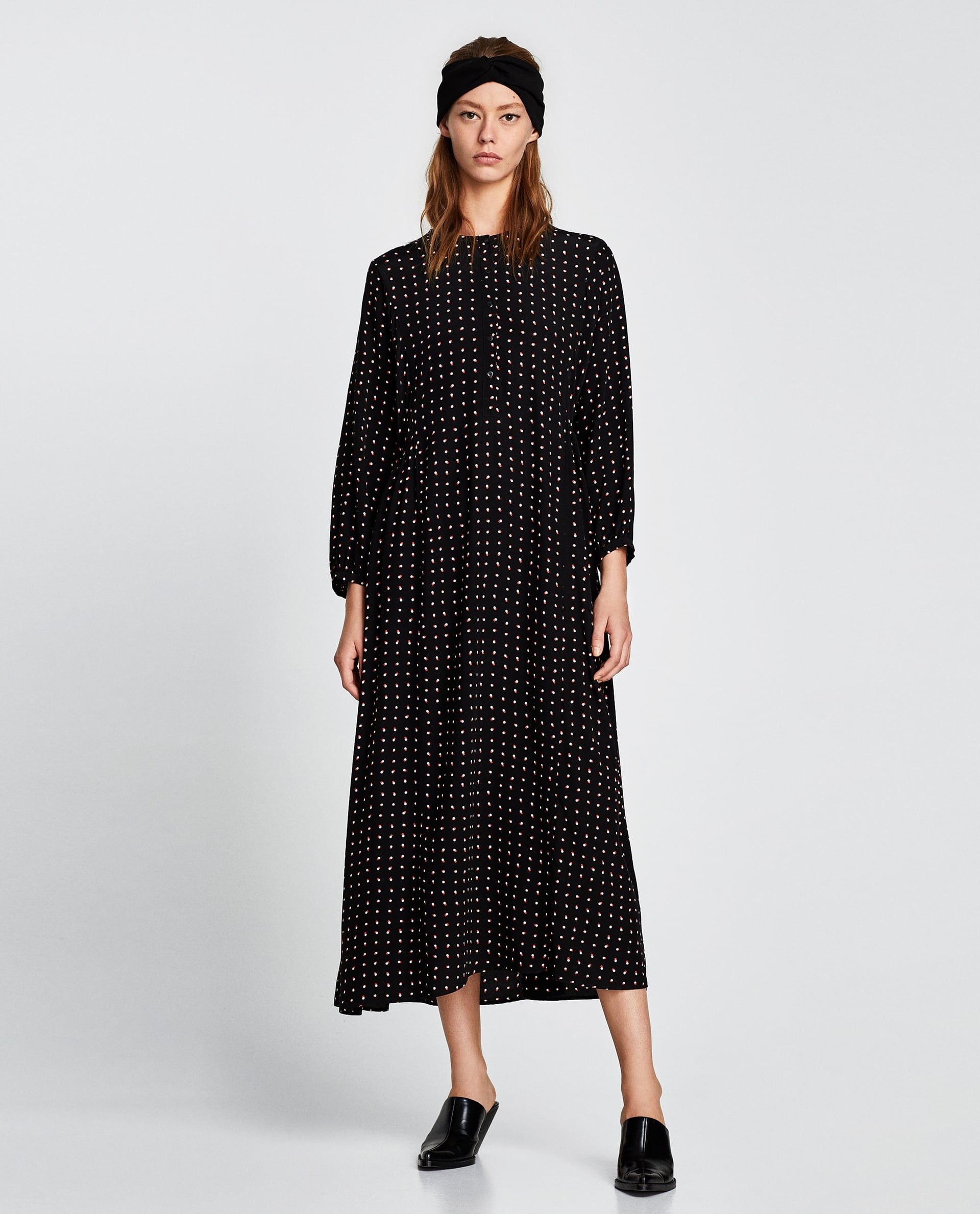 Image of long polka dot dress from zara clothes pinterest