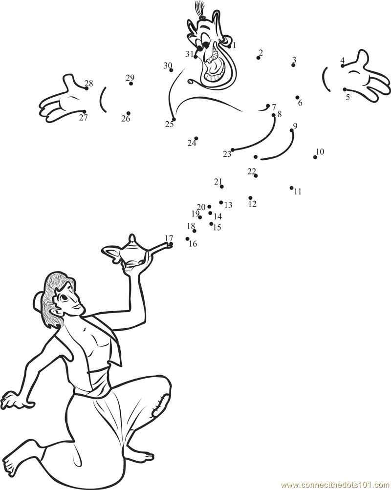 Aladdin Genie Fun dot to dot printable worksheet - Connect The Dots ...
