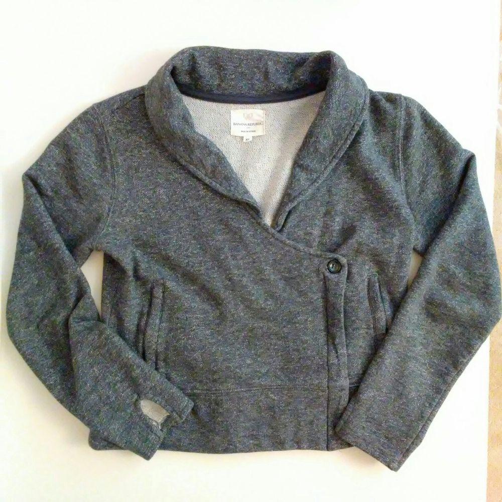 Banana Republic Knit Moto Jacket Cropped Blazer Size XS