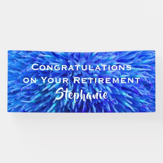 Retirement Congratulations Blue Floral Closeup Banner
