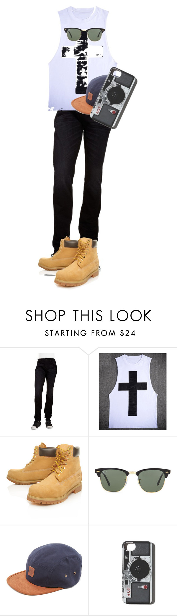 """Casual Day"" by manuelha on Polyvore featuring Hudson Jeans, Timberland, Ray-Ban, OBEY Clothing, Abercrombie & Fitch, mens, men, men's wear, mens wear and male"