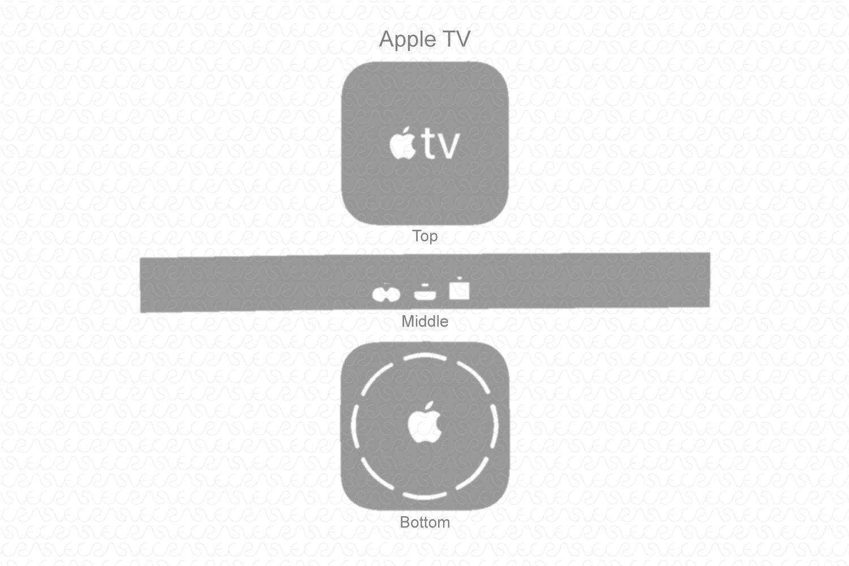 Apple TV & Remote 5th gen 2017 Skin Template Vector