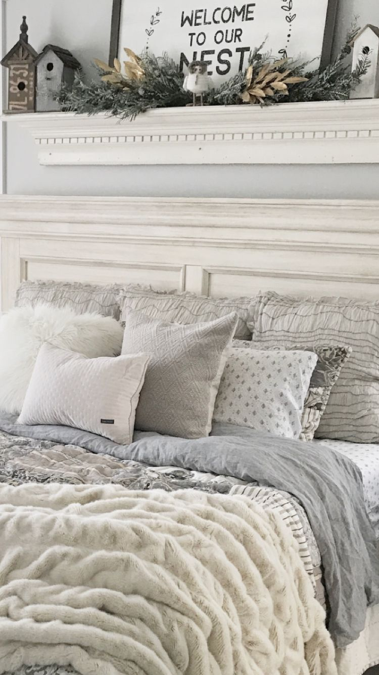 Gray And Cream Farmhouse Bedding In Master Bedroom Farmhouse Style Bedding Rustic Master Bedroom Rustic Bedroom