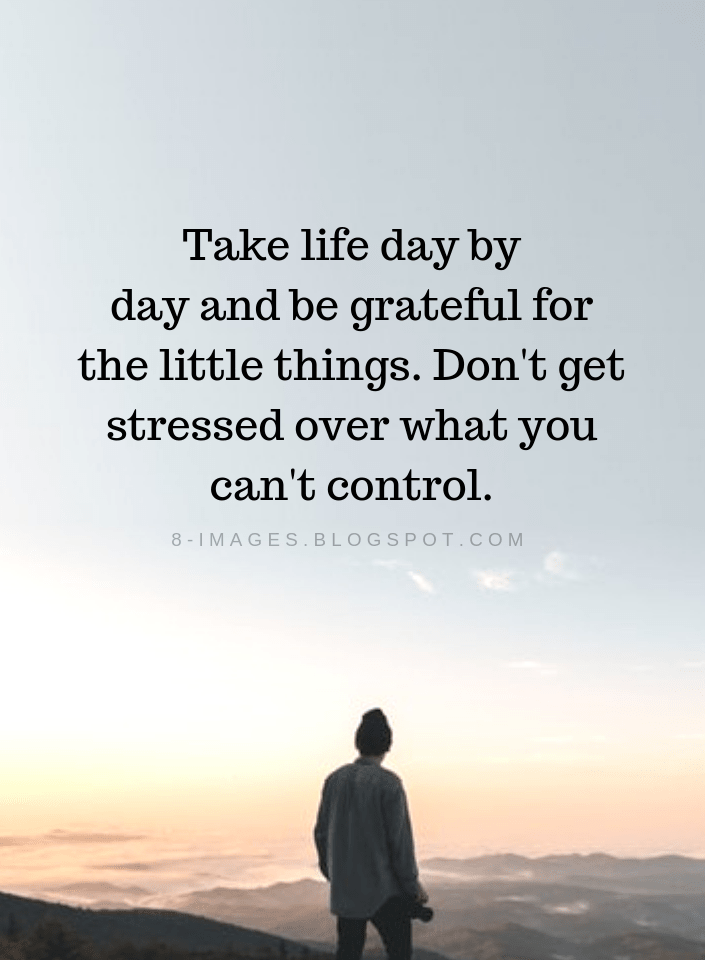 Life Quotes Take Life Day By Day And Be Grateful For The Little Things Don T Get Stressed Over What You Can T Cont Stress Quotes Simply Quotes Grateful Quotes