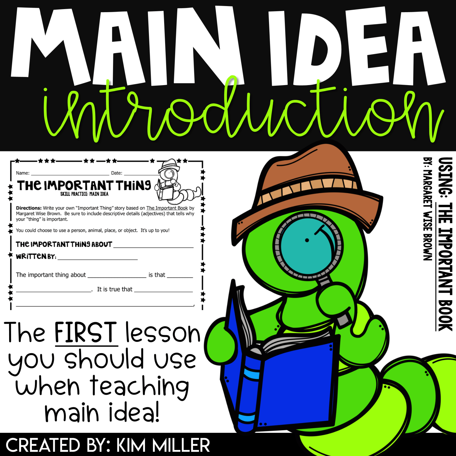Main Idea Worksheets Introduction Lesson