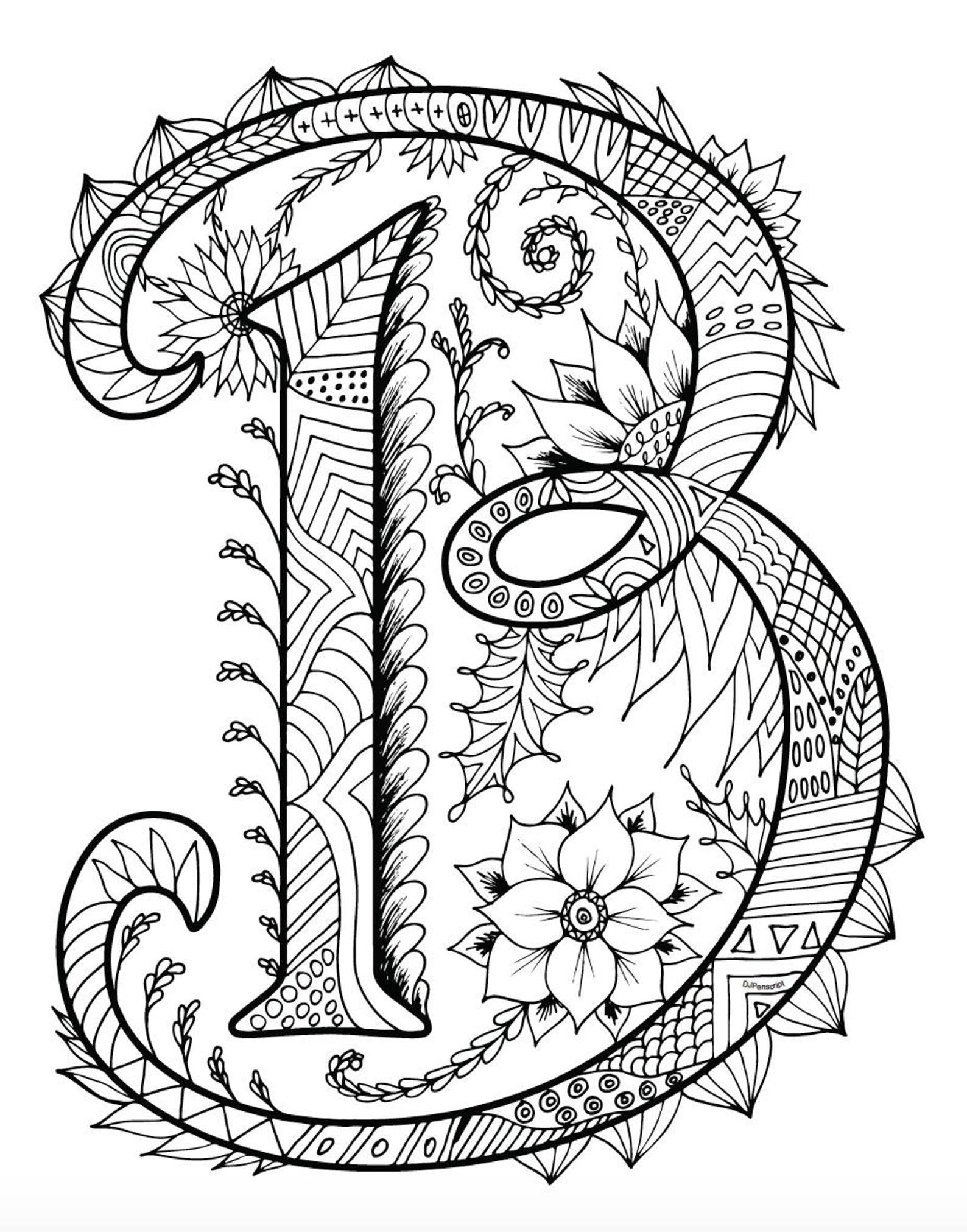 Alphabet Coloring Pages Zentangle Coloring Book For Adults Etsy Alphabet Coloring Pages Mandala Coloring Pages Coloring Book Pages