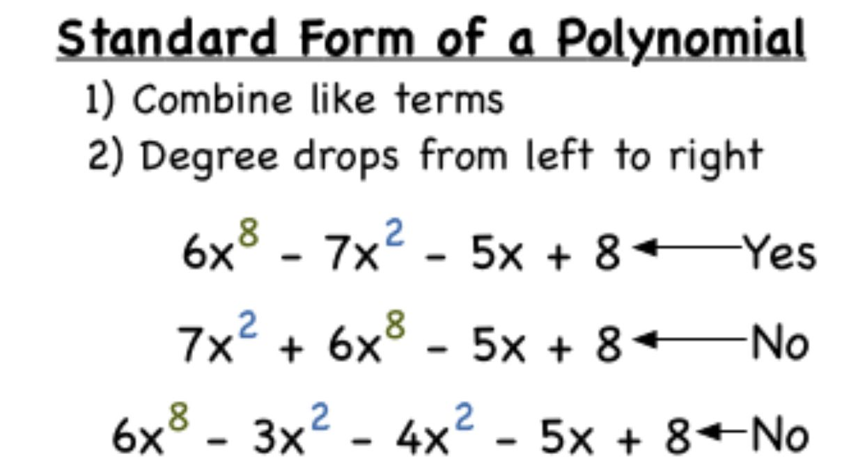 standard form images  Standard form of a polynomial | Standard form, Combining ...