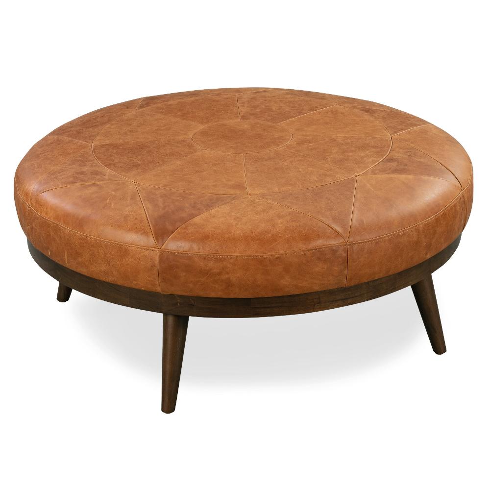 Gio Ottoman Leather Cocktail Ottoman Leather Ottoman Coffee Table Round Leather Ottoman