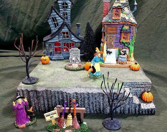 Custom miniature Christmas village display platform #halloweenvillagedisplay