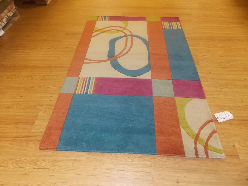 """3' 9"""" x 5' 9"""" Blue Orange Off White Green Hand Knotted Wool Area Rug REDUCED"""