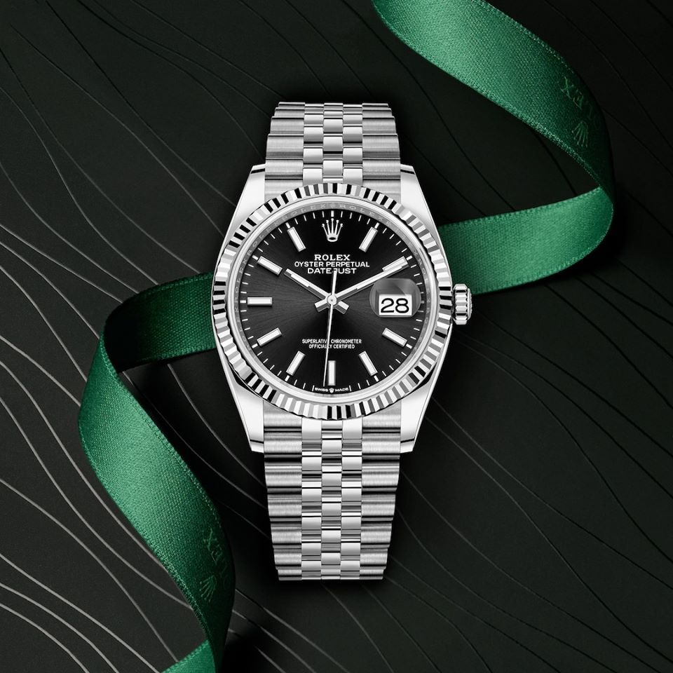 The Classic Watch Of Reference The Rolex Datejust 36 In Oystersteel And White Gold 36 Mm Case Black Dial A Jubilee Bra In 2020 Rolex Rolex Models Classic Timepiece