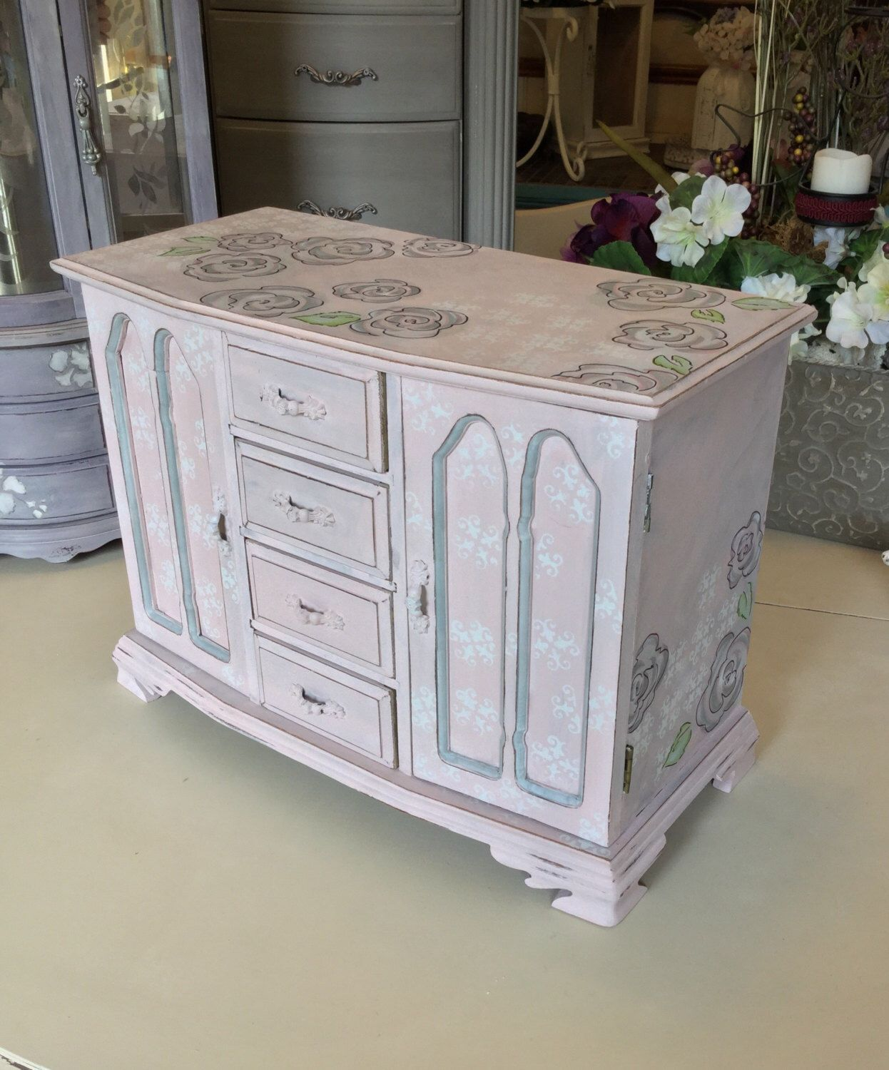 Shabby Chic Wooden Jewelry Box Vintage Chalk Painted Jewelry