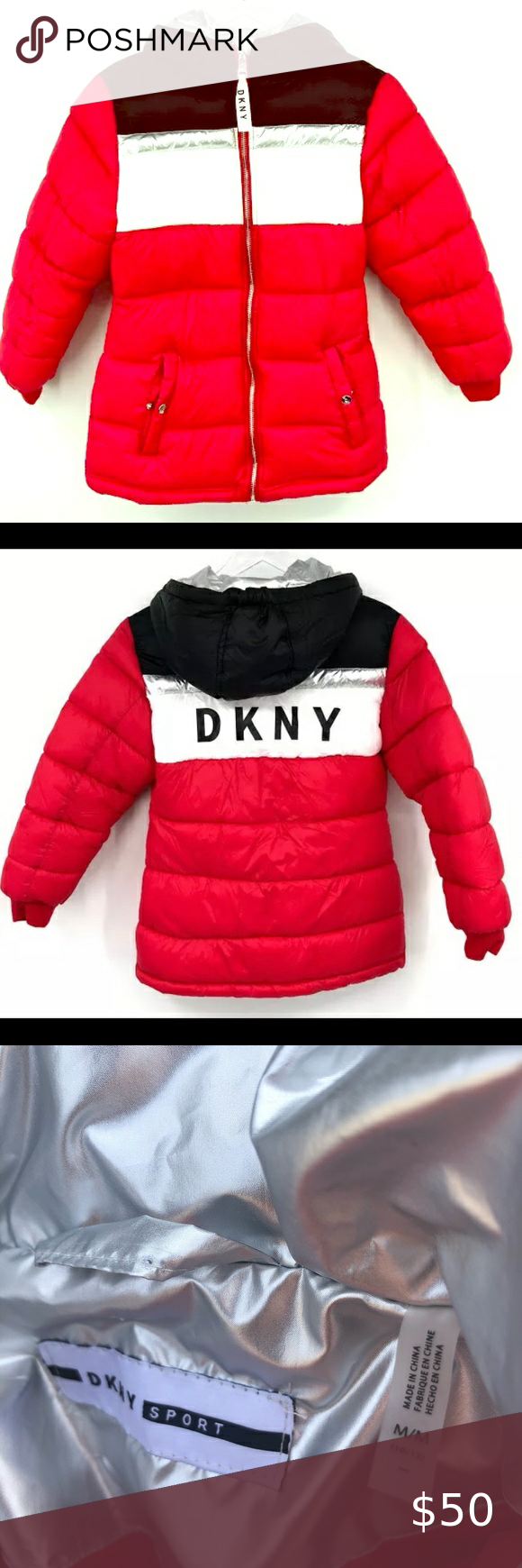 Kid S Dkny Sport Red Hooded Puffer Jacket Sz 10 12 Brand New With Tags Kid S Size M 10 12 Dkny Sport Puffer Jacket L Jackets Puffer Jackets Quilted Jacket [ 1740 x 580 Pixel ]