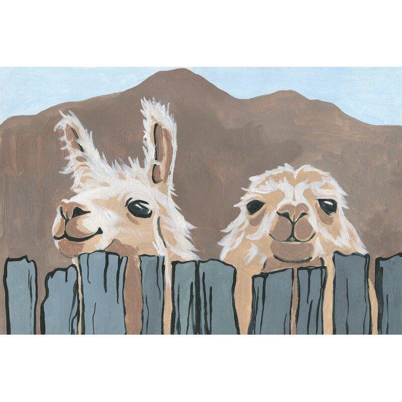 Peekaboo Llamas Acrylic Painting Print On Wrapped Canvas Painting Canvas Painting Giclee Painting