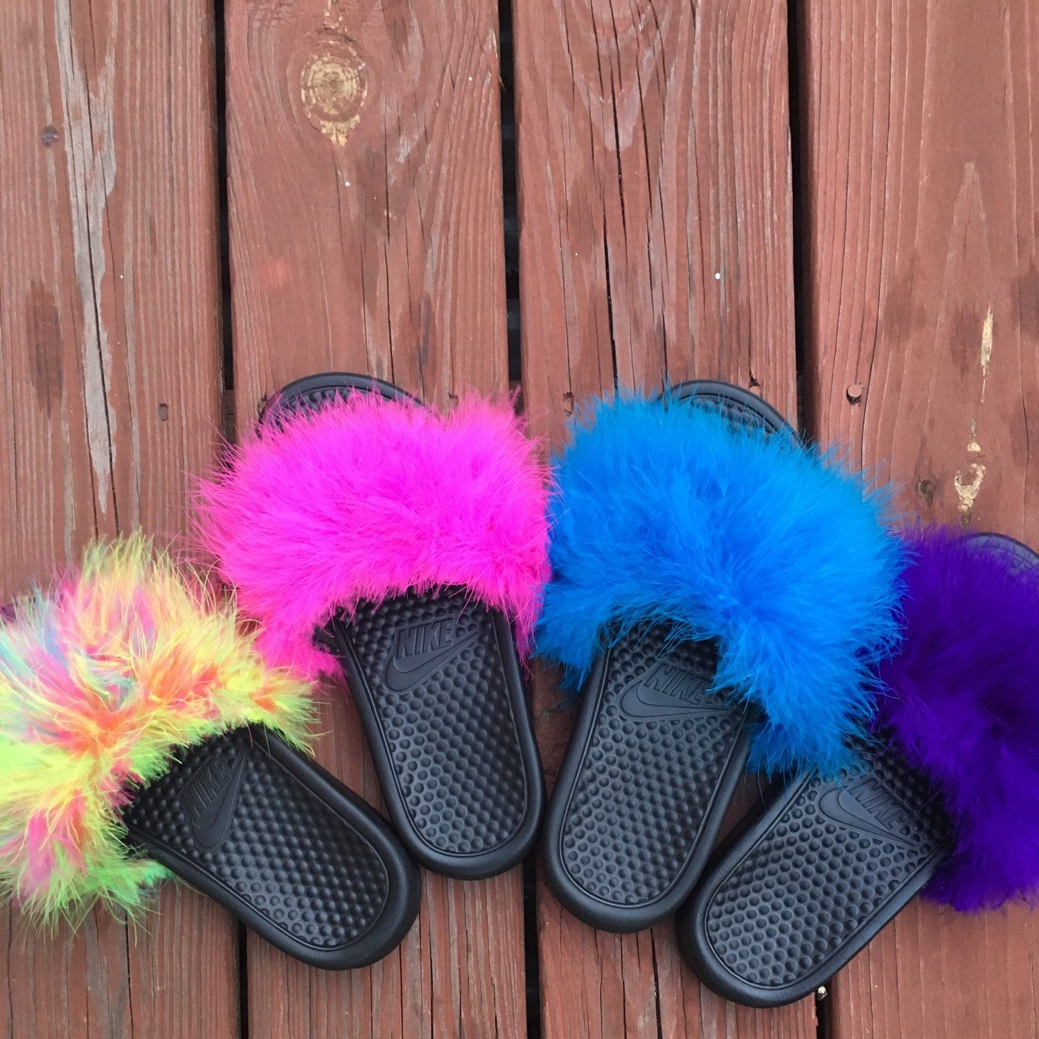 addfdf2c36b1 Brand new summer colors get yours today Custom Nike Fur Slides ...