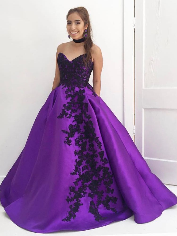 Sweetheart Purple Long Quinceanera Dress with Black Appliques | 2018 ...