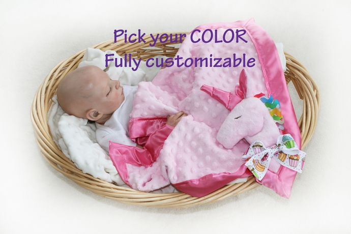 Pink Unicorn Minky Security Blanket, Lovey Blanket, Satin, Baby Blanket, Stuffed Animal, Baby Toy - Customize Color by bbsforbabies, $42.50 USD