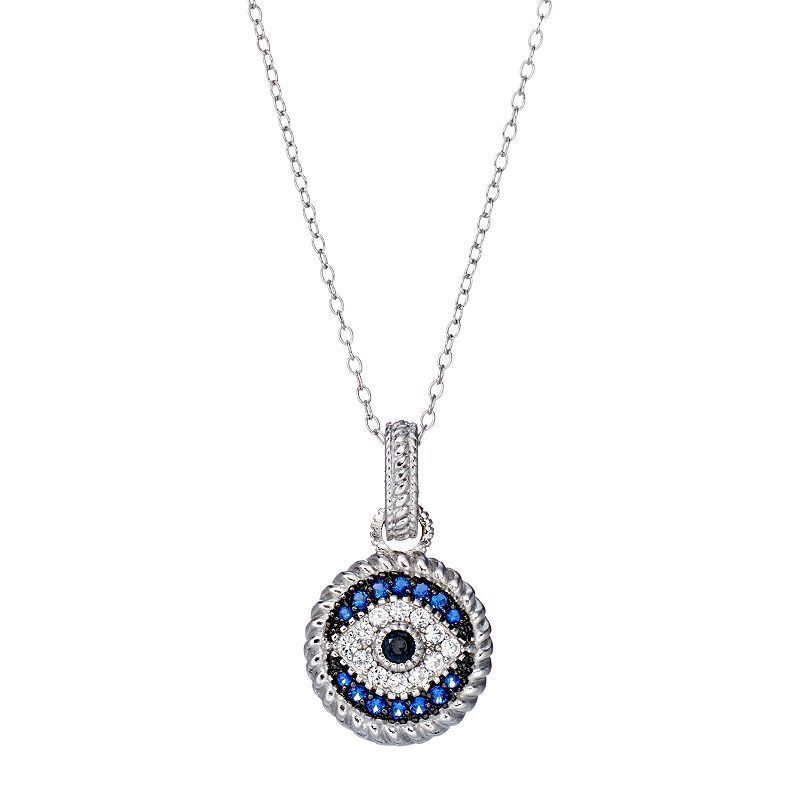 Sterling Silver Blue Glass   Cubic Zirconia Evil Eye Pendant ... f5b55e2132