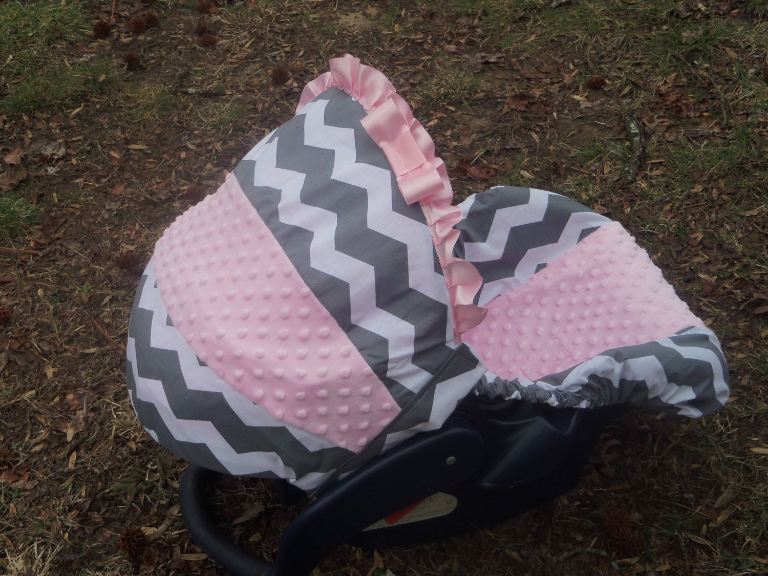 Pink Grey Chevron Stripe Light Minky Baby Car By Pinkbandit2 4900