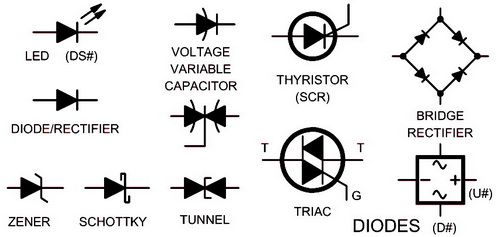 electrical schematic symbols names and identifications rh pinterest com wiring diagram led symbol 12V Diode Wiring-Diagram