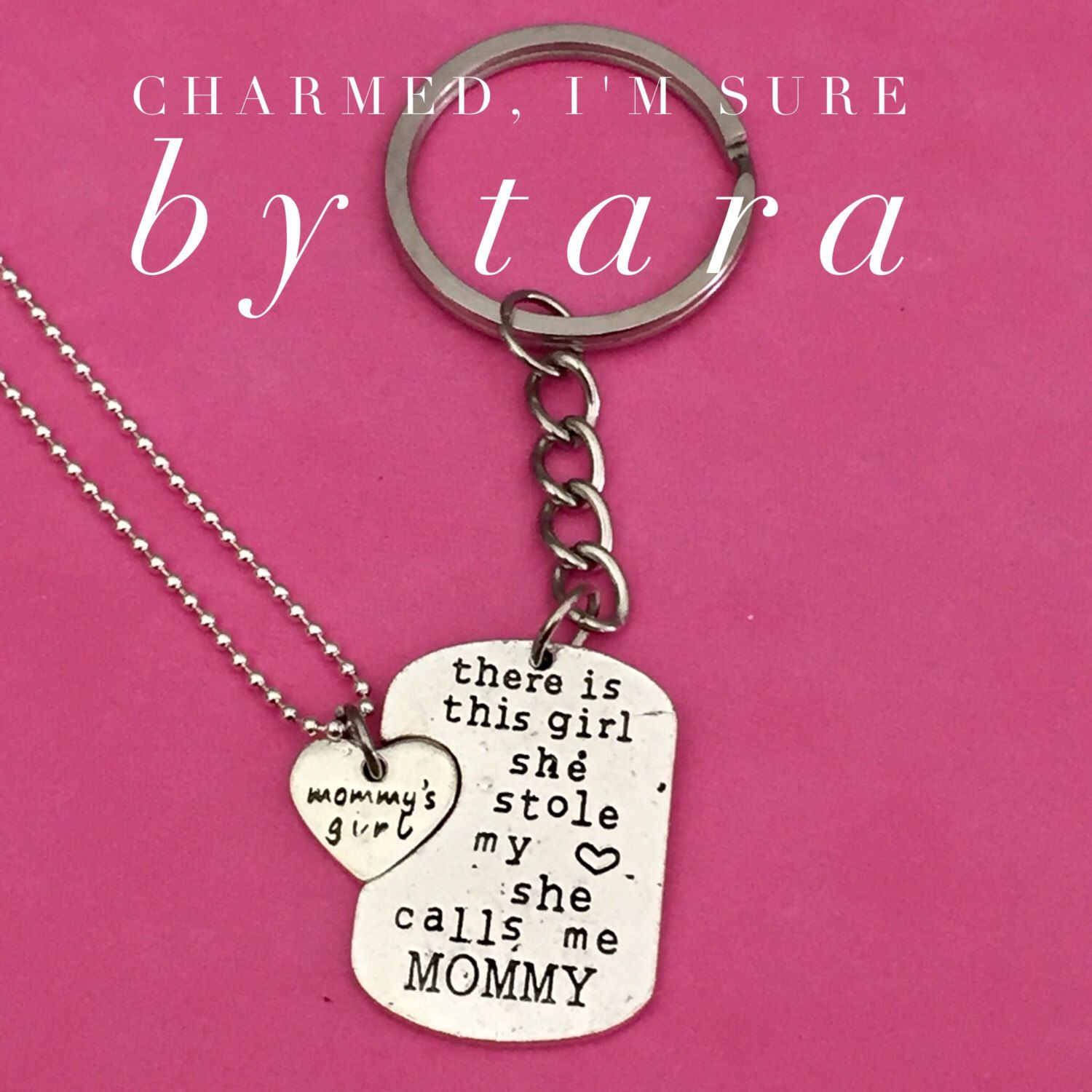 A personal favorite from my Etsy shop https://www.etsy.com/listing/478824853/mommys-girl-keychain-and-necklace-set