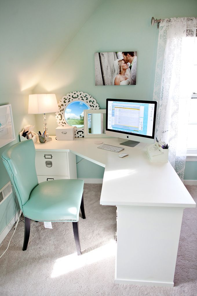 Very Pretty Office In Bedroom Using Clean White Desk And Soft Muted Tiffany Blue Aqua