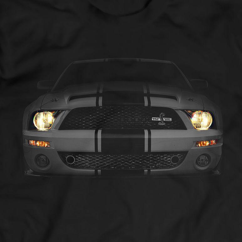 Ford Mustang Shelby GT500 Das Cobra Scheinwerfer Glühen Schwarz T-Shirt