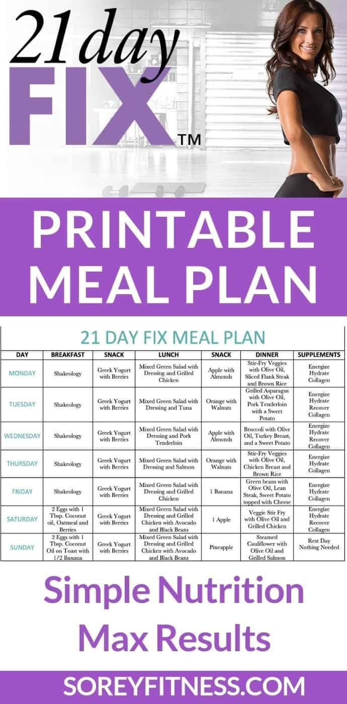 Free 21 Day Fix Meal Plan + How to Use the Containers