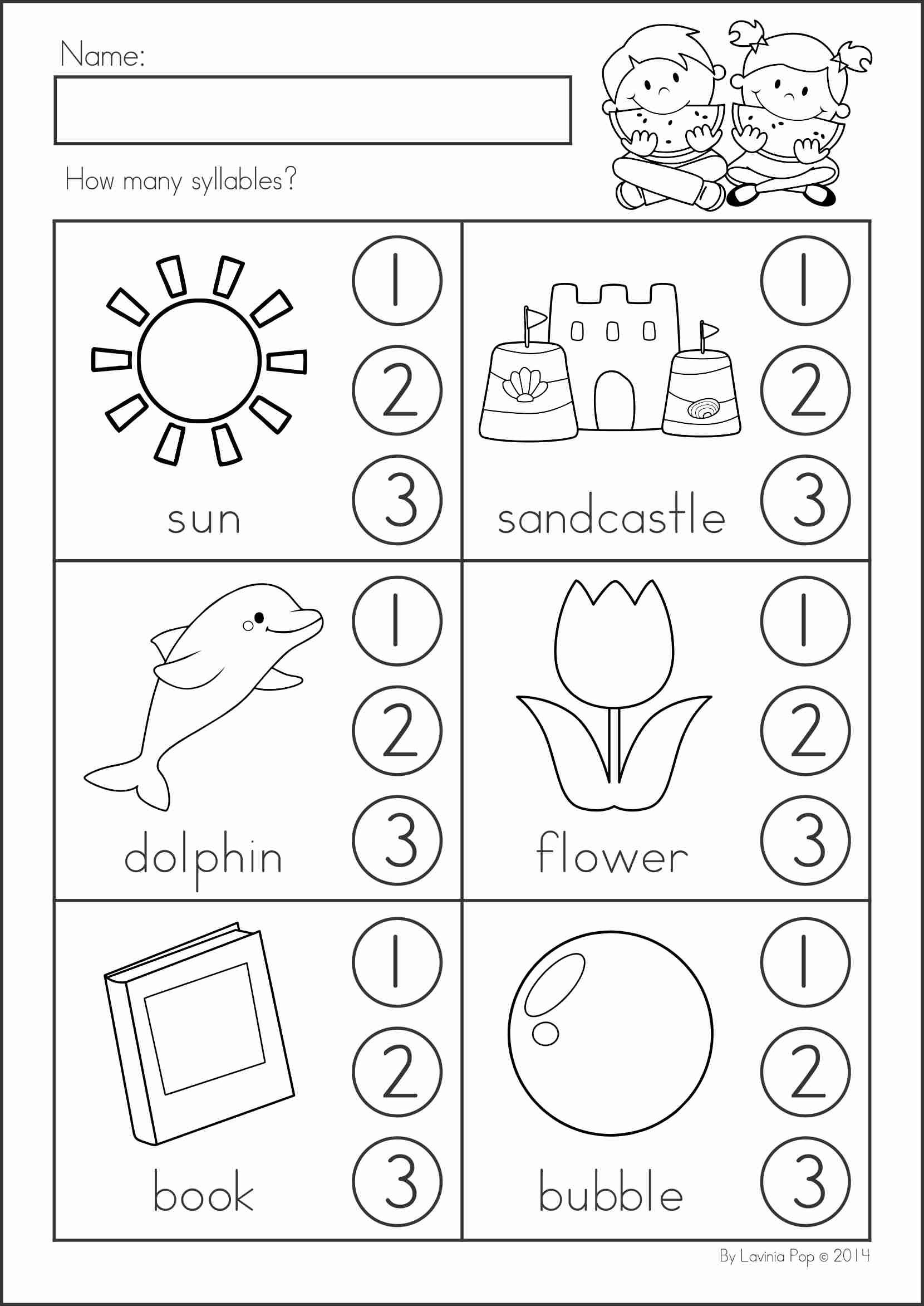 worksheet Syllable Worksheets For Kindergarten summer review literacy worksheets math and syllable kindergarten activities 104 pages a page from