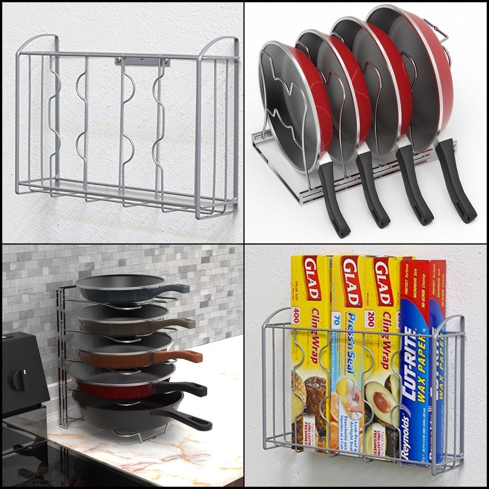 Organizer Storage Kitchen Pan Pot Cutting Tray Over The Cabinet Door