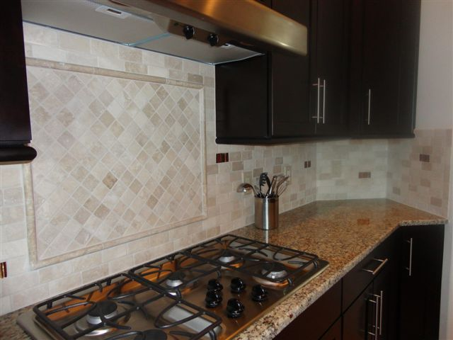 Lutz Florida Creme 2x4 Travertine Marble Brick Offset Custom Kitchen Backsplash Installation Tile Subway