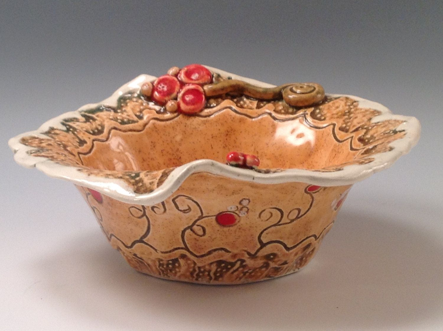 Bowl/orange bowl/pottery bowl/ceramic bowl/candy dish/serving dish/flowered pottery/orange pottery by joycepottery on Etsy