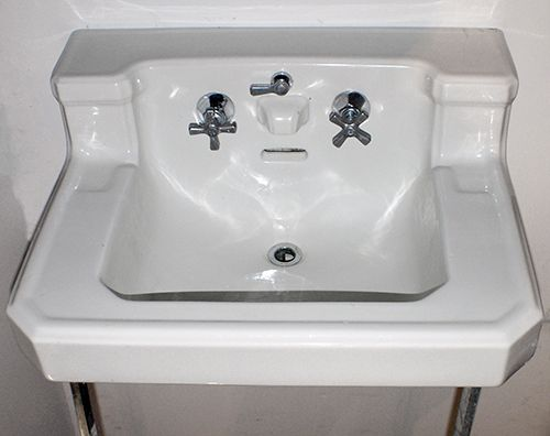 Vintage 1940s Sink With Chrome Legs Bathroom Sink