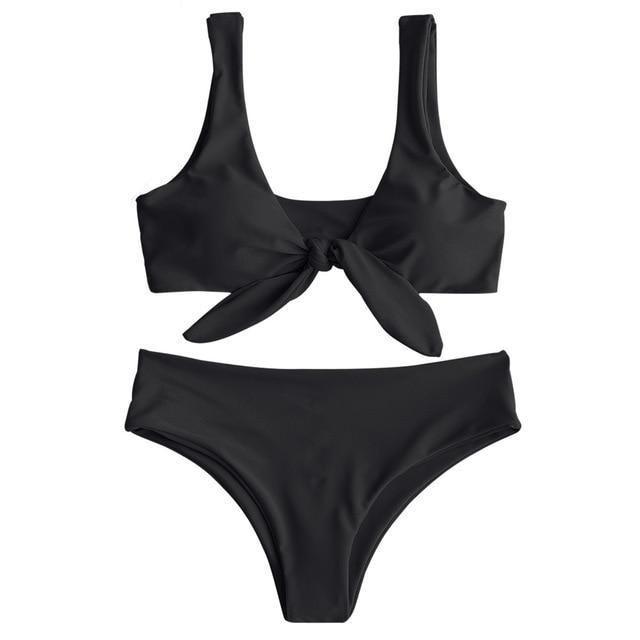 5a72c92fbaac2 LANGSTAR Bikini Padded Front Knot Bikini Set Women Straps Solid Swimsuit  Sexy Women Yellow Swimwear Pink Bathing Suit Beachwear