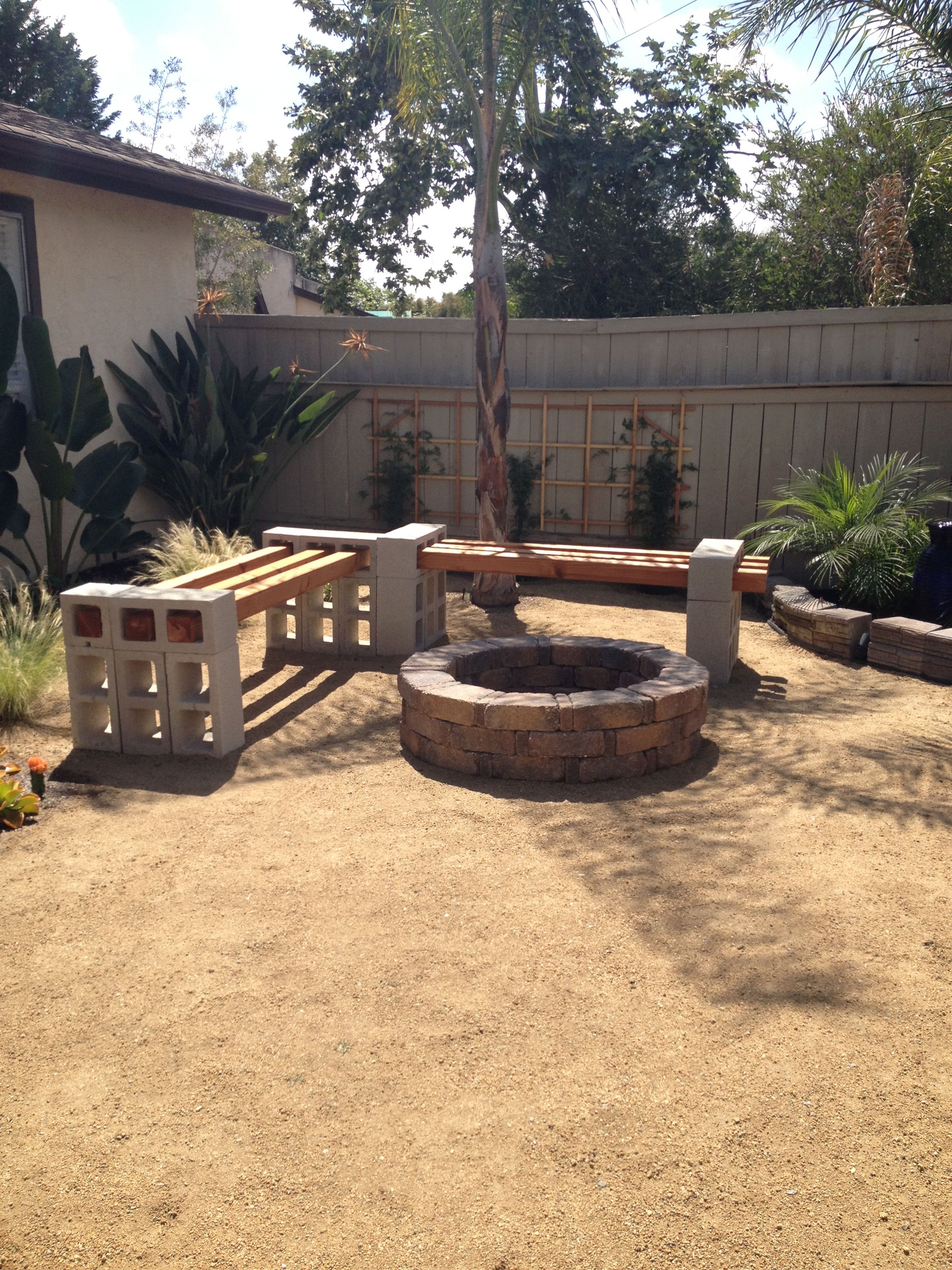 Fire pit bench from Pinterest to real life | Fire pit ... on Simple Cinder Block Fireplace id=47468