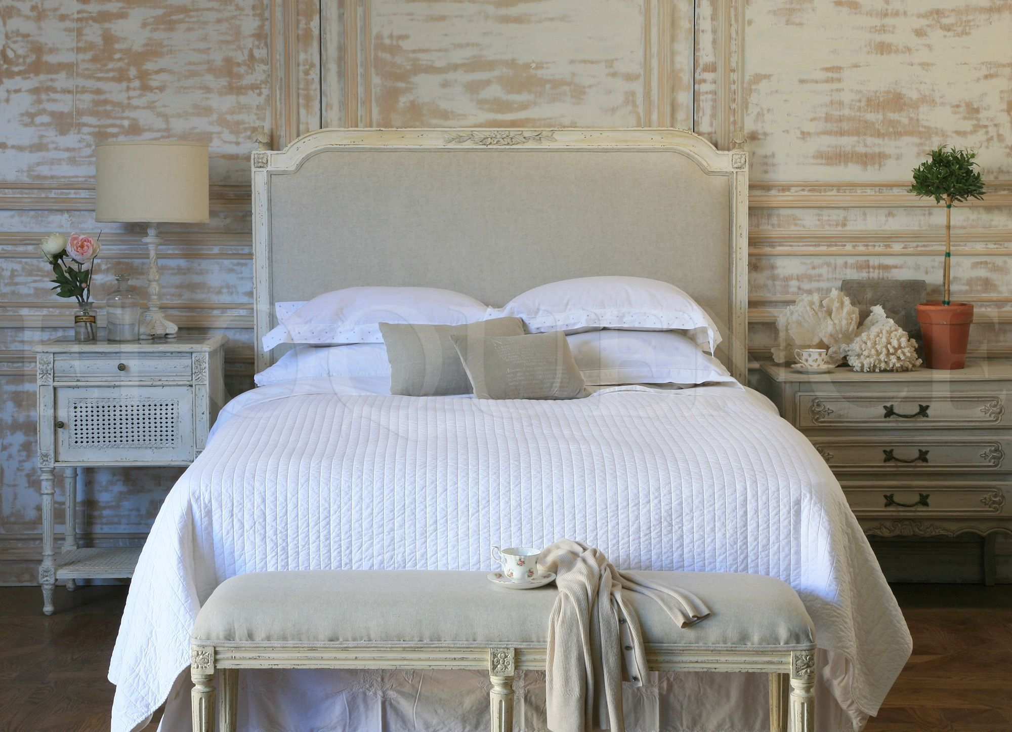 Eloquence Blanka Upholstered Headboard in Antique White