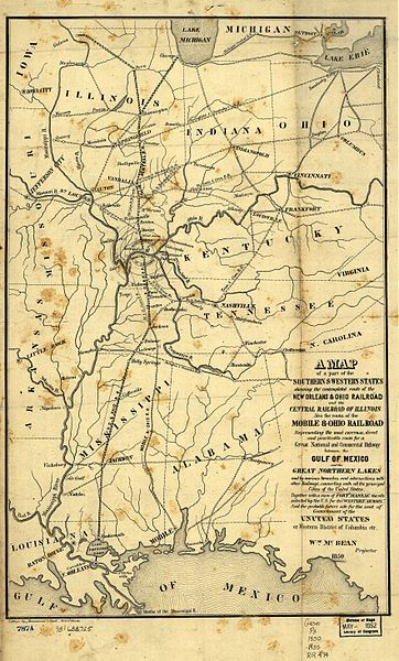 1850 Map Of The Illinois Central Railroad And New Orleans And Ohio