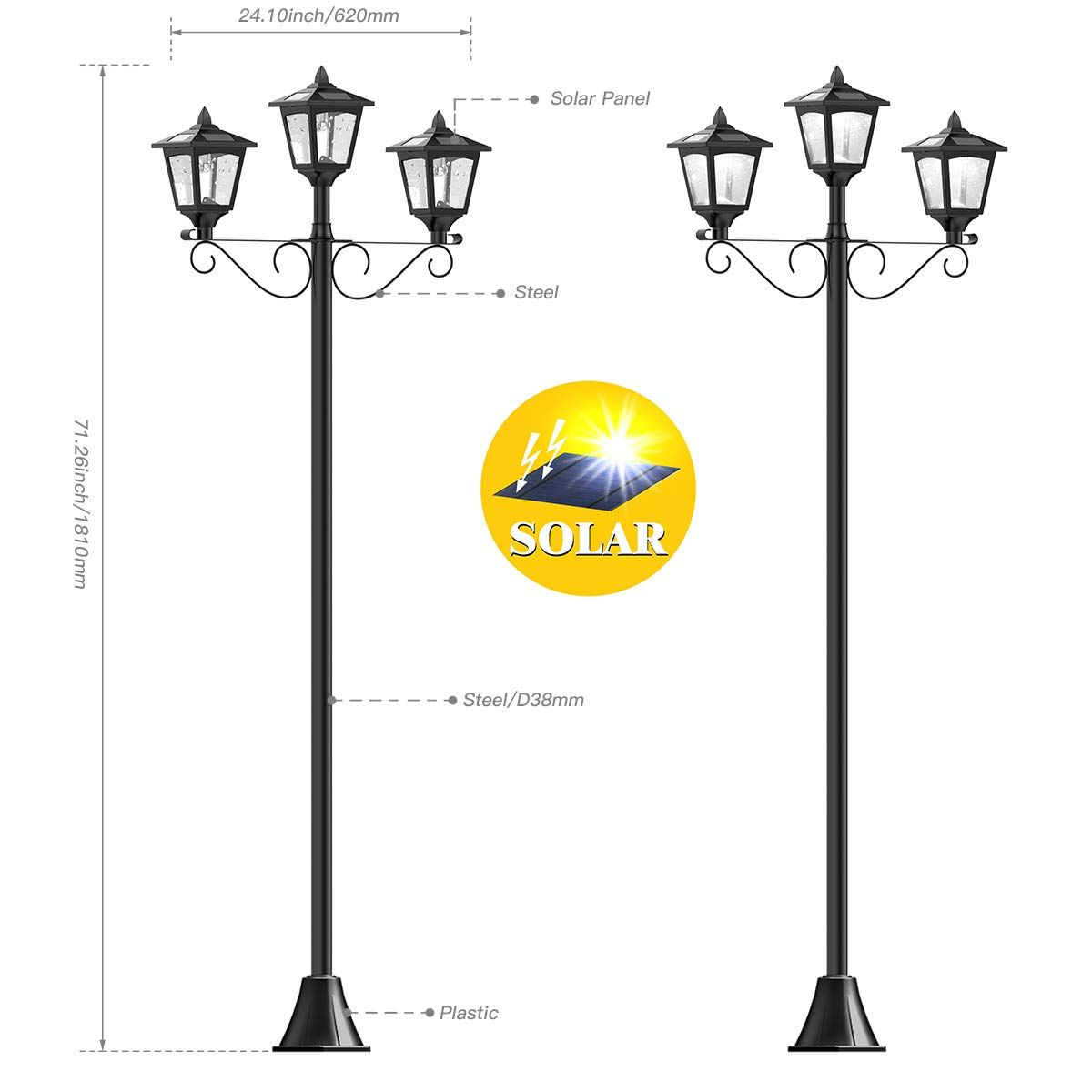72 Solar Lamp Post Lights Outdoor Triple Head Street Vintage Solar Lamp Outdoor Solar Post Light For Garden Lawn Planter Not Included Lamp Post Lights Post Lights Outdoor Post Lights
