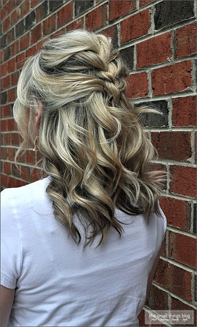 Half Updo With Braid And Curls Cute Shoulder Length