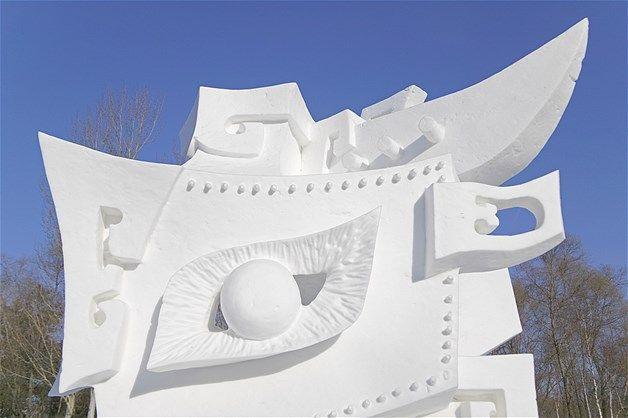 Escultura de gelo no Festival Ice Carving na província de Heilongjiang, em Harbin, na China